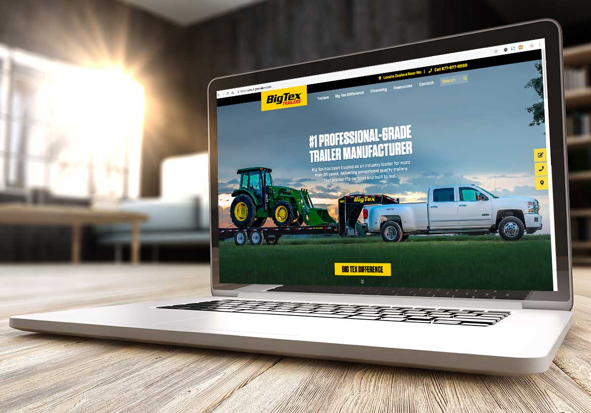 Laptop featuring Big Tex Trailers Website