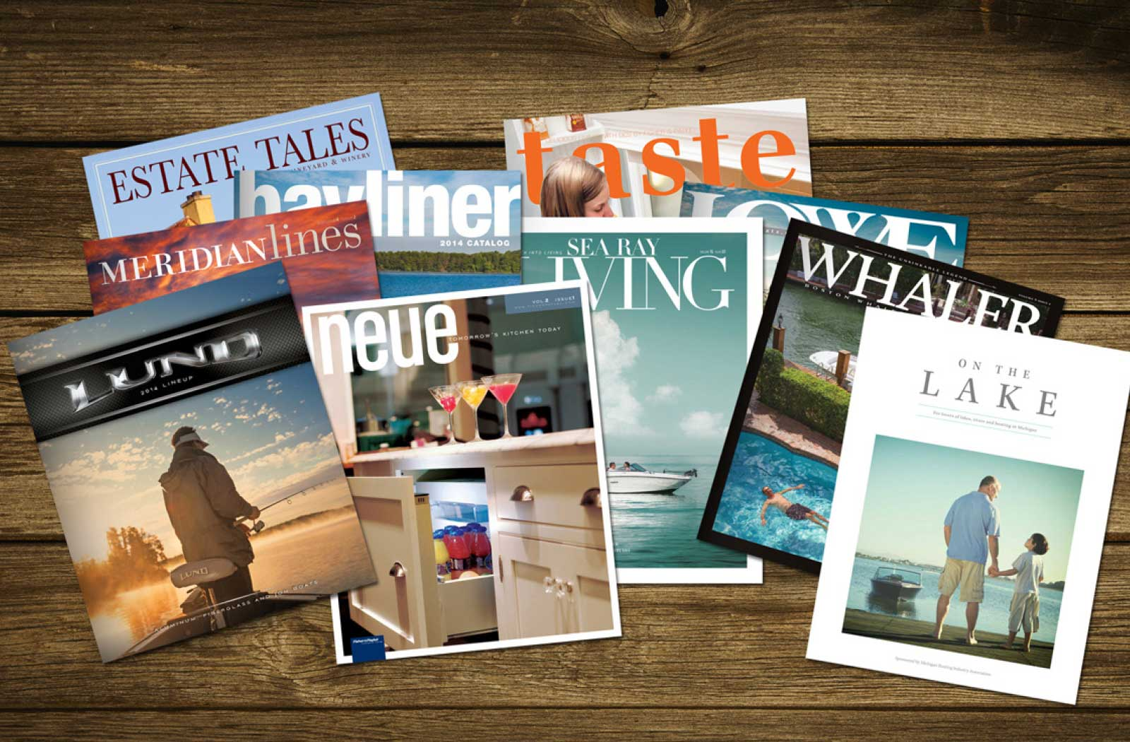 Collection of magazines lay on a table