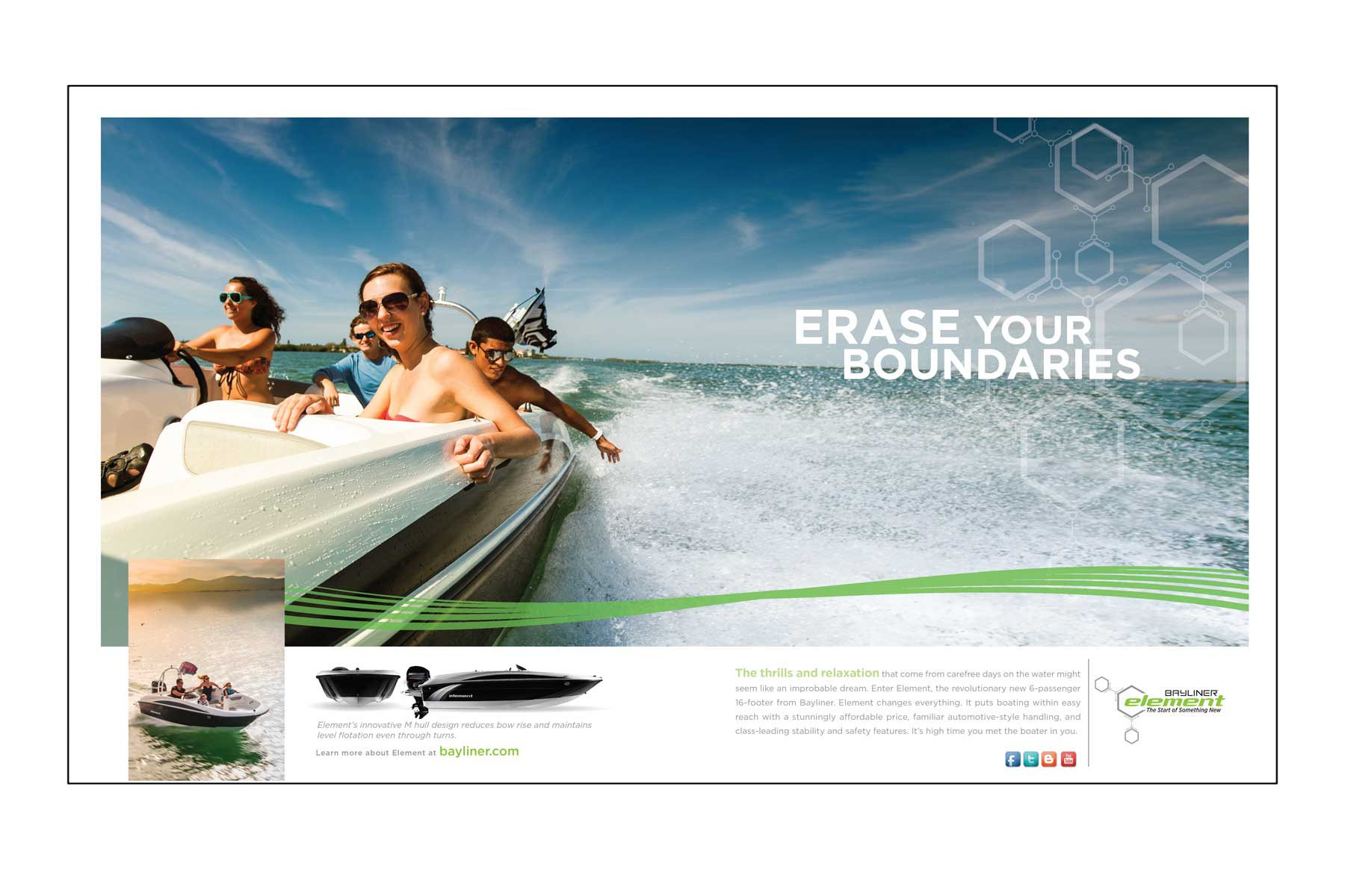 """Advertisement image of friends in an Element boat with text """"Erase your boundaries"""""""