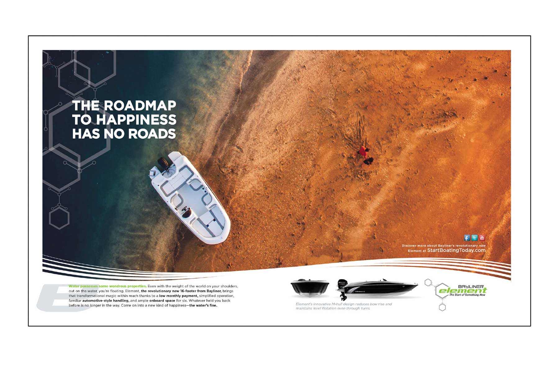"""Advertisement aerial image of Element boat beached with text """"The roadmap to happiness has no roads"""""""