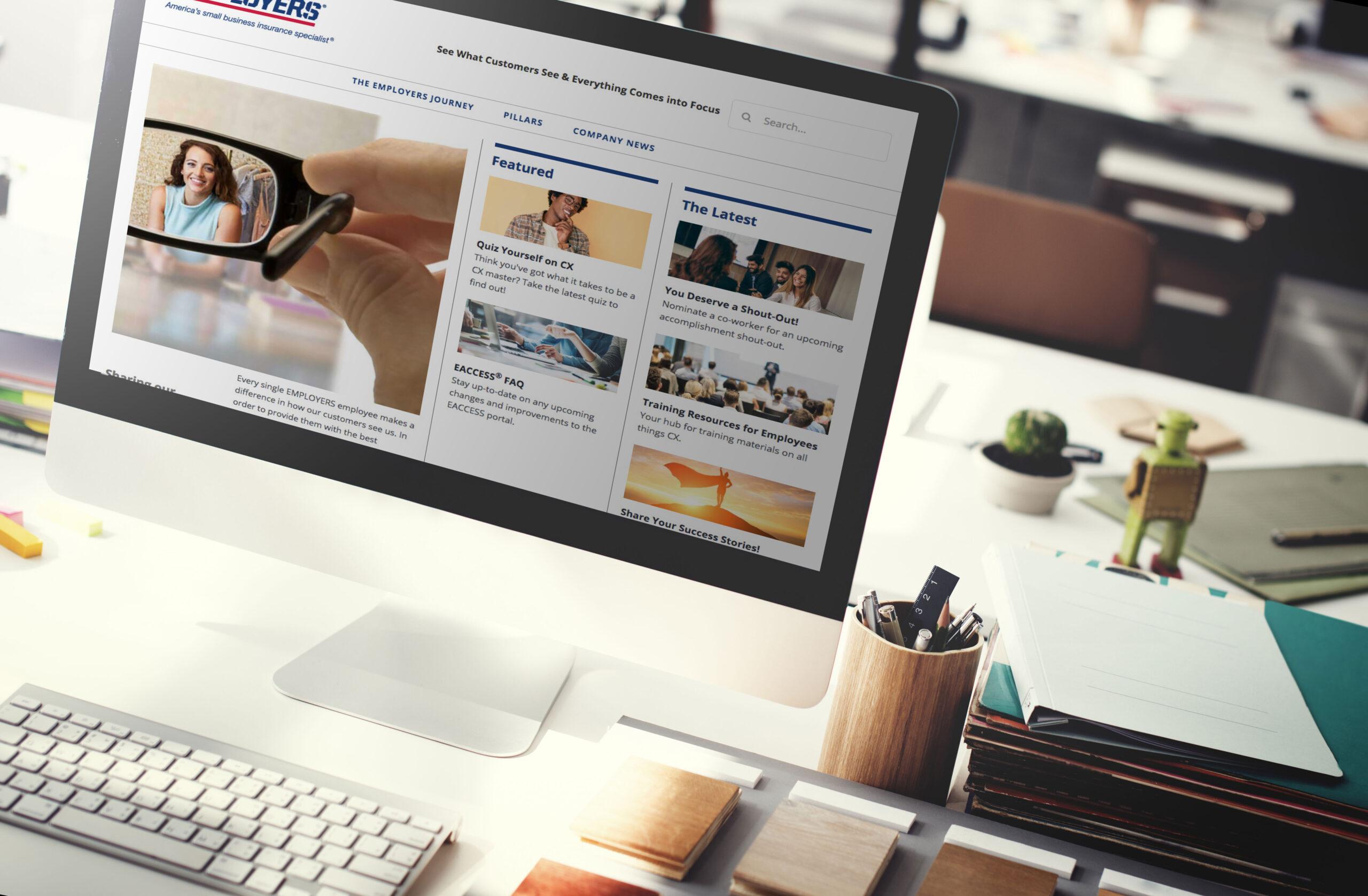 Employers website on a desktop computer