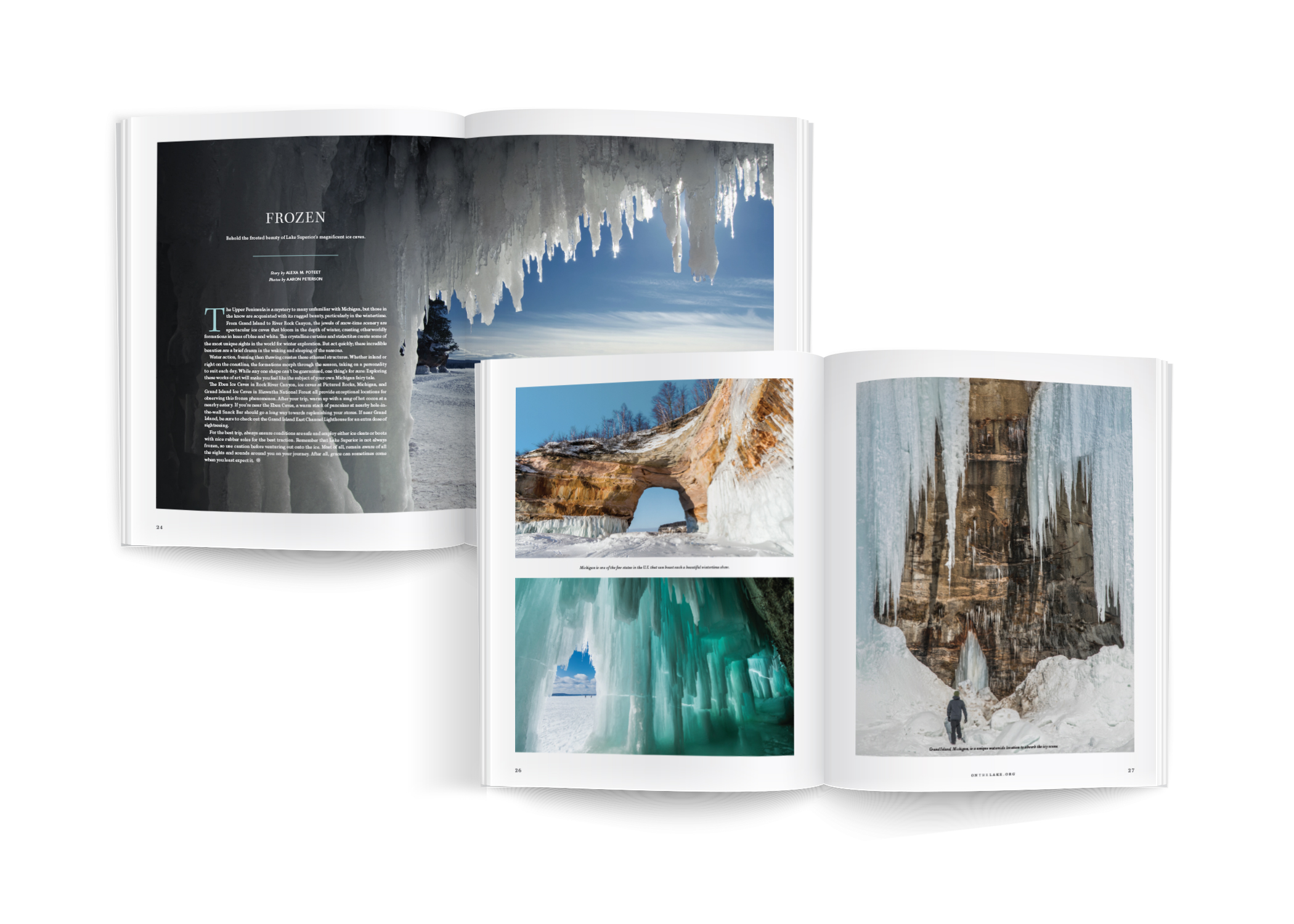 """Open magazine spreads display article titled """"Frozen"""" and several images of ice caves and icicles"""