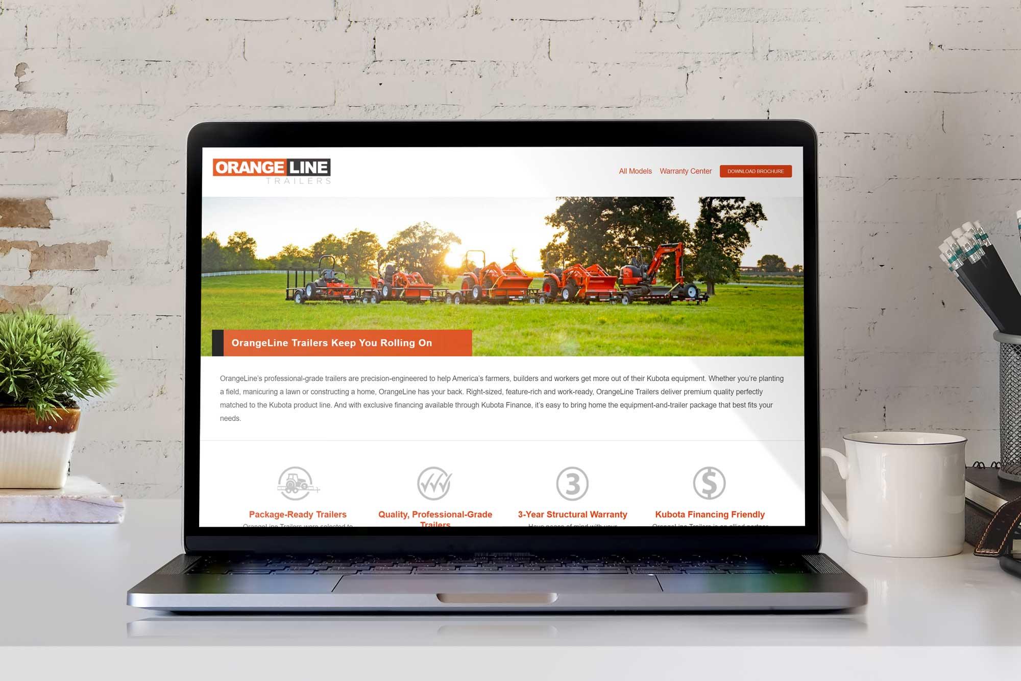 Laptop displaying OrangeLine laptop