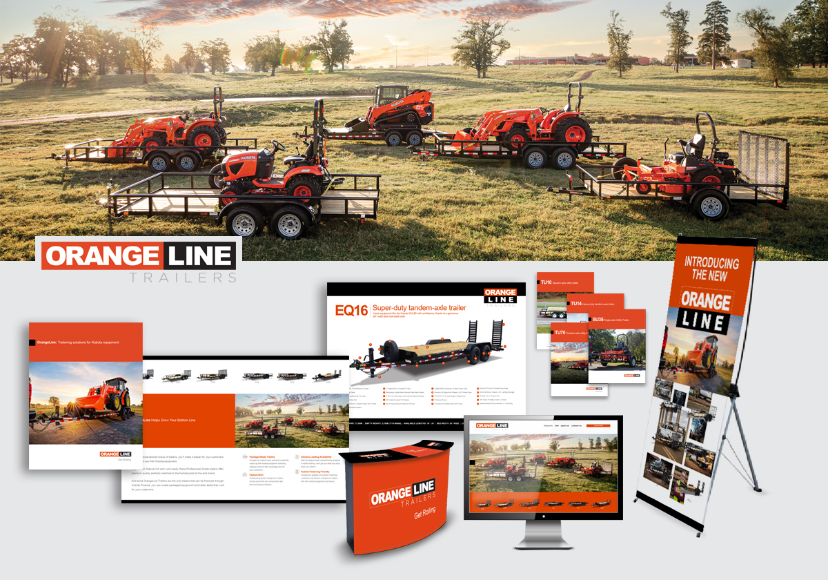 Collection of OrangeLine Trailers magazines, webpages, and ads in front of an image of several trailers