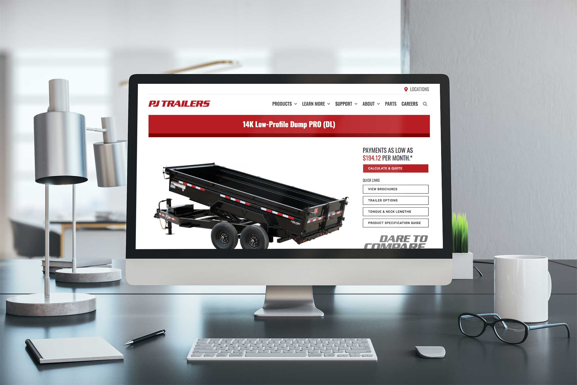 PJ Trailers website on a desktop computer