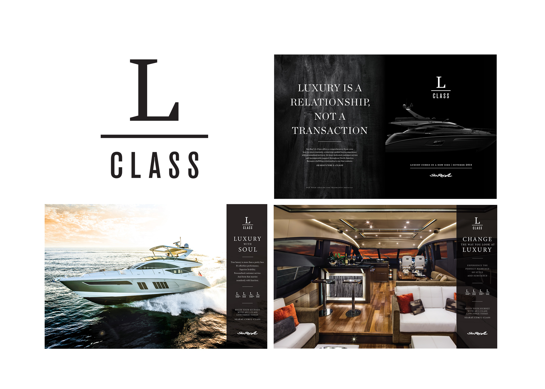 Several dynamic ads for L Class luxury yachts