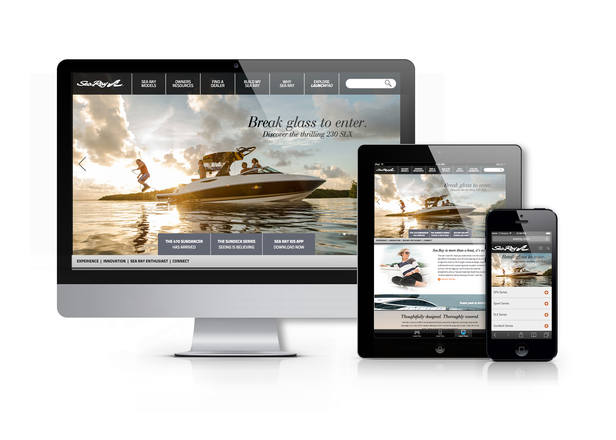 Sea Ray website displayed on a desktop computer, tablet, and mobile phone