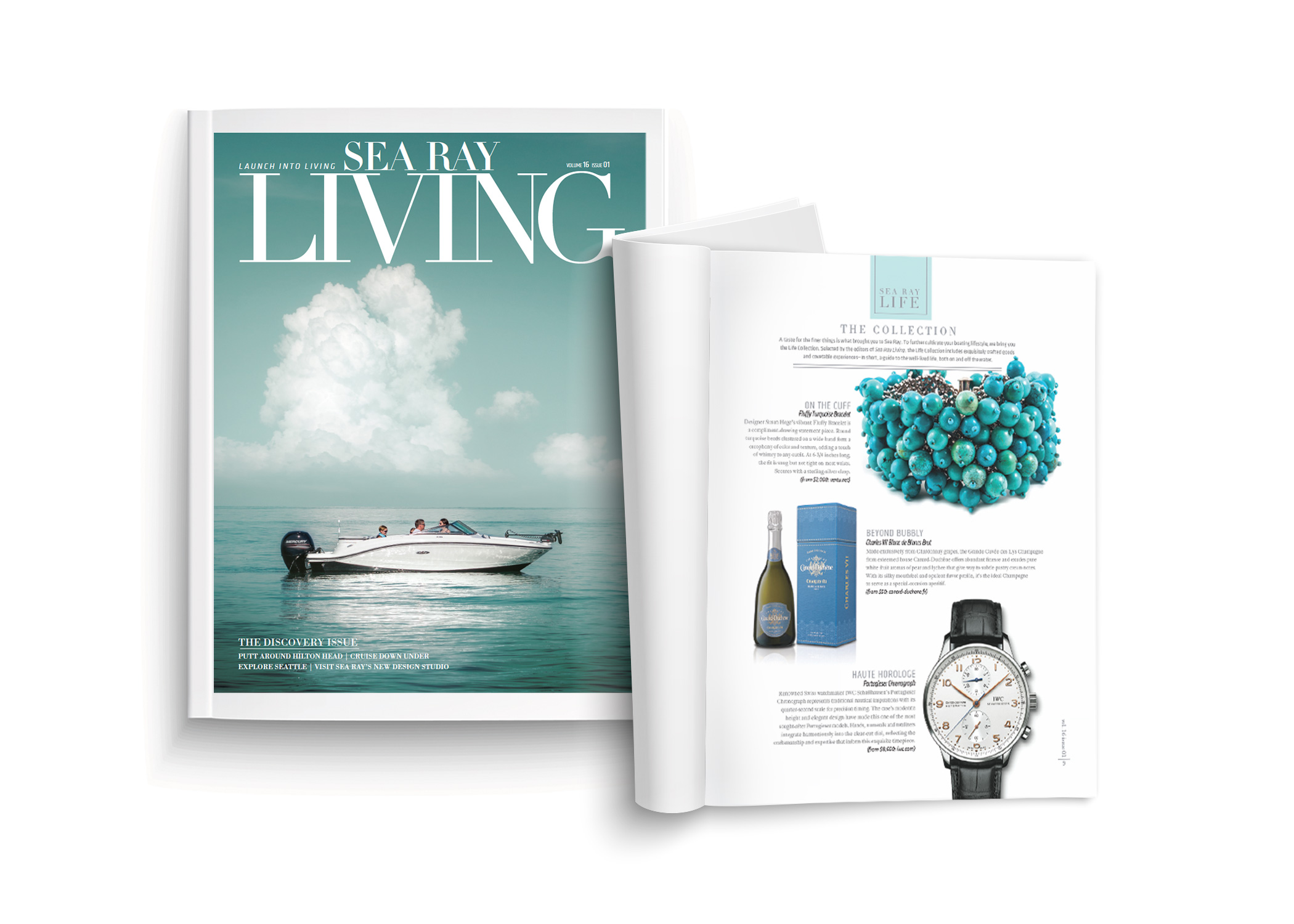 Sea Ray living magazine cover featuring boat on open waters and one open magazine spread