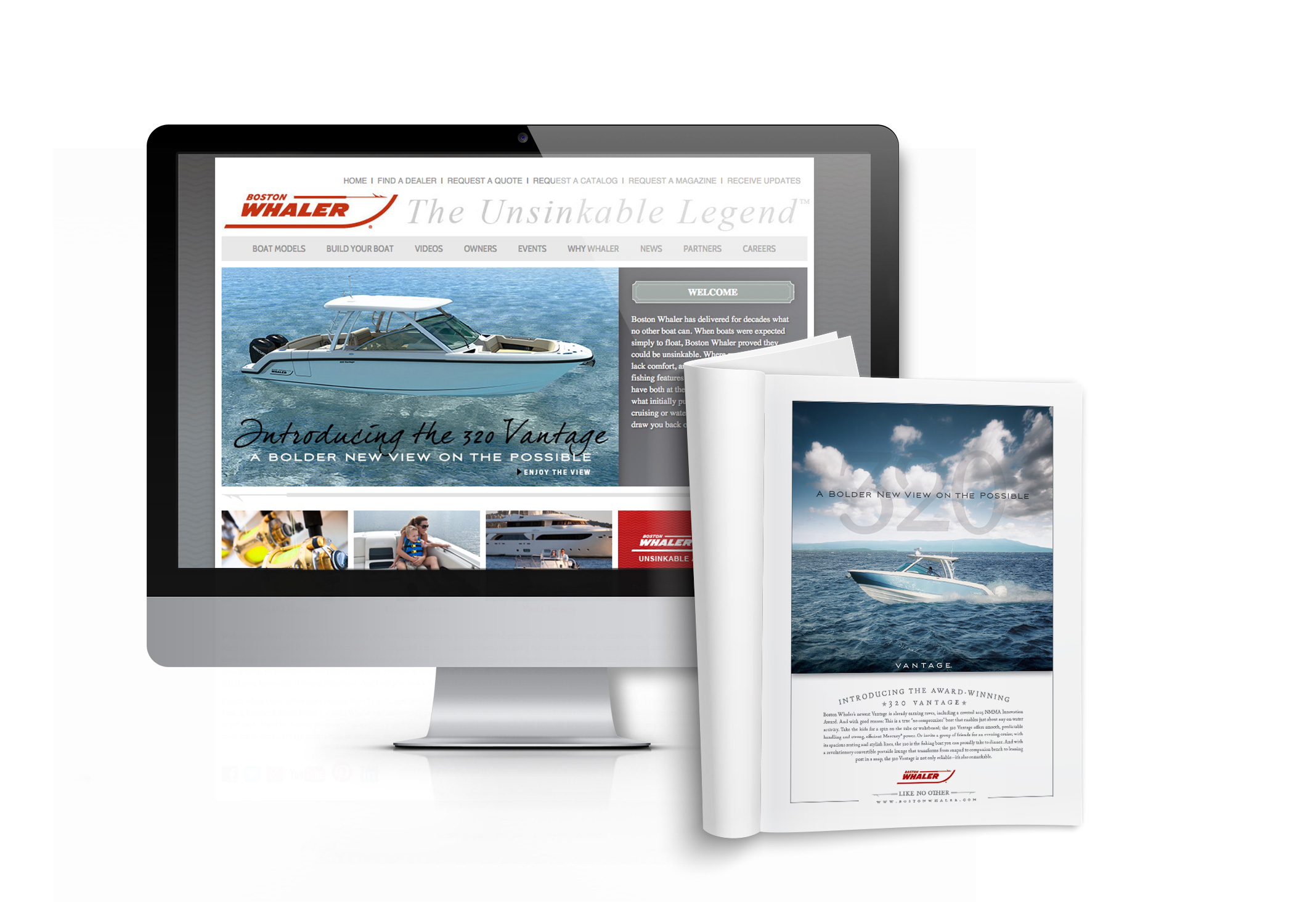 Boston Whaler website displayed on a desktop computer with an open magazine featuring a Boston Whaler ad in front